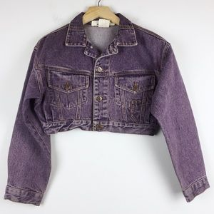 Vintage 90s BONGO cropped jean jacket faded purple
